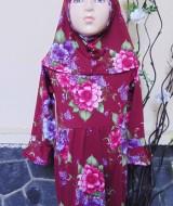 PALING MURAH Baju Muslim Gamis Aisyah Anak Bayi Perempuan 2-3th Plus Hijab Flowerry 47 Lebar Dada 33cm, Panjang 53cm