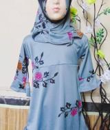 PALING MURAH Baju Muslim Gamis Aisyah Anak Bayi Perempuan 2-3th Plus Hijabgrey flower 47 Lebar Dada 33cm, Panjang 54cm