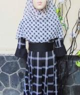 PALING MURAH Baju Muslim Gamis Aisyah Anak Bayi Perempuan 3-4th Plus Hijab beauty flowers 49 Lebar Dada 30cm, Panjang 77cm, usia hanya estimasi, silahkan cocokkan dengan ukuran anak anda