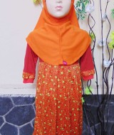 PALING MURAH Baju Muslim Gamis Aisyah Anak Bayi Perempuan 3-4th Plus Hijab little orange flowers 49 Lebar Dada 28cm, Panjang baju 63cm, usia hanya estimasi, silahkan cocokkan dengan ukuran anak anda,