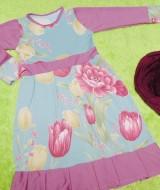 PALING MURAH Baju Muslim Gamis Aisyah Anak Bayi Perempuan 3-4th Plus Hijab purple flowers 49 Lebar Dada 28cm, Panjang baju 65cm, usia hanya estimasi, silahkan cocokkan dengan ukuran anak anda,