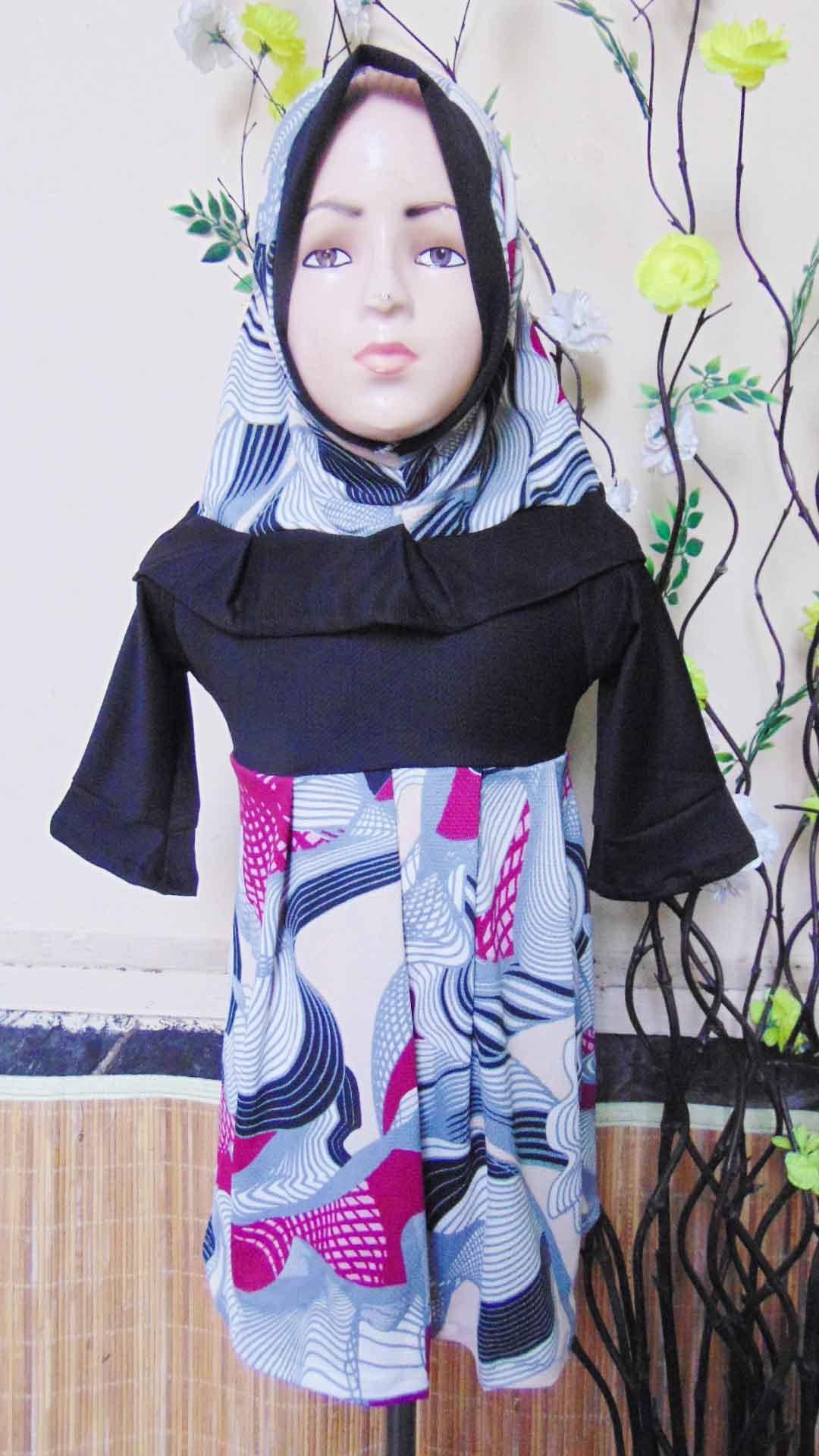 PALING MURAH Baju Muslim Gamis Aisyah Anak Bayi Perempuan 6-18bulan Plus Hijab Abstrak cantik 44 Lebar Dada 27cm, Panjang 49cm