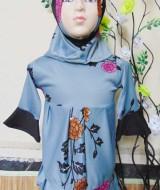 PALING MURAH Baju Muslim Gamis Aisyah Anak Bayi Perempuan 6-18bulan Plus Hijab grey flower 44 Lebar Dada 29cm, Panjang 54cm