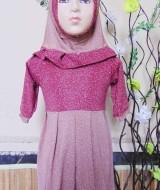 PALING MURAH Baju Muslim Gamis Aisyah Anak Bayi Perempuan 6-18bulan Plus Hijab rintik 44 Lebar Dada 26cm, Panjang 47cm