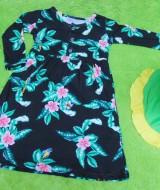 PLUS HIJAB Baju Muslim Gamis Anak Bayi Perempuan Cewek 1-2th BOBO KIDS motif nyiur 58 lebar dada 27cm, panjang gamis 51cm,