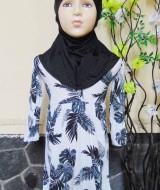 PLUS HIJAB Baju Muslim Gamis Anak Bayi Perempuan Cewek 1-2th BOBO KIDS motif nyiur hitam putih 58 lebar dada 29cm, panjang gamis 55cm,