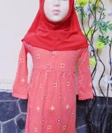 PLUS HIJAB Baju Muslim Gamis Anak Bayi Perempuan Cewek 2-3th BOBO KIDS motif ornamen orange 61 lebar dada 31cm, panjang gamis 58cm,