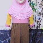 PLUS JILBAB Baju Lebaran Muslimah Gamis Bayi Perempuan Humaira 12-18bulan Pastel Pink Cokelat Kuning