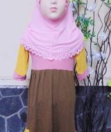 PLUS JILBAB Baju Lebaran Muslimah Gamis Bayi Perempuan Humaira 12-18bulan Pastel Pink Cokelat Kuning 44 lebar dada29cm, panjang 59cm