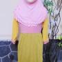 PLUS JILBAB Baju Lebaran Muslimah Gamis Bayi Perempuan Humaira 12-18bulan Pastel Pink Kuning 44 lebar dada29cm, panjang 65cm