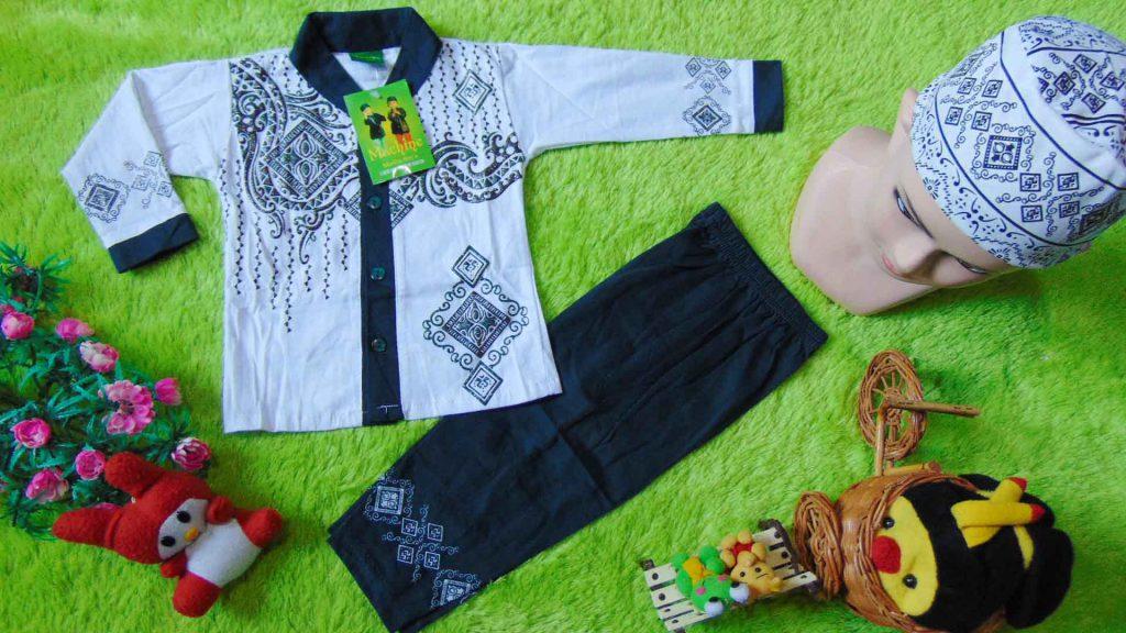 PLUS-PECI-setelan-baju-koko-muslim-anak-bayi-laki-laki-cowok-newborn-0-12bulan-sablon-timbul-berkilau-hijau-pinus-1024x576