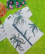 baju batik bayi anak laki-laki kemeja batik batita hem anak cowok uk 1-3th baju pesta motif burung hijau