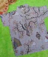 baju batik bayi anak laki-laki kemeja batik batita hem anak cowok uk 1-3th baju pesta motif creamy