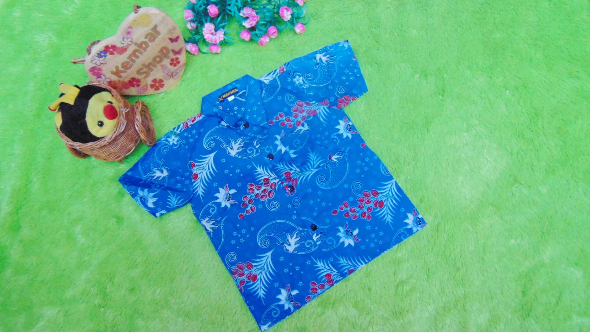 baju batik bayi anak laki-laki kemeja batik batita hem anak cowok uk 1-3th baju pesta motif mlinjo