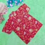 baju batik bayi anak laki-laki kemeja batik batita hem anak cowok uk 1-3th baju pesta motif sulur abang