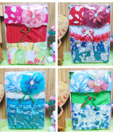 foto utama 1 FREE KARTU UCAPAN Kado Ulang Tahun Box Paket Kado Anak Perempuan 2-3th Cewek Gift Set Dress turban bunga Aneka Warna