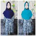 PALING MURAH Baju Muslim Gamis Azizah Anak Perempuan 4-5th Plus Hijab Abstrak Tosca