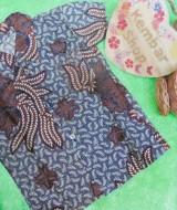 baju batik bayi anak laki-laki kemeja batik batita hem anak cowok uk 1-3th baju pesta motif pari
