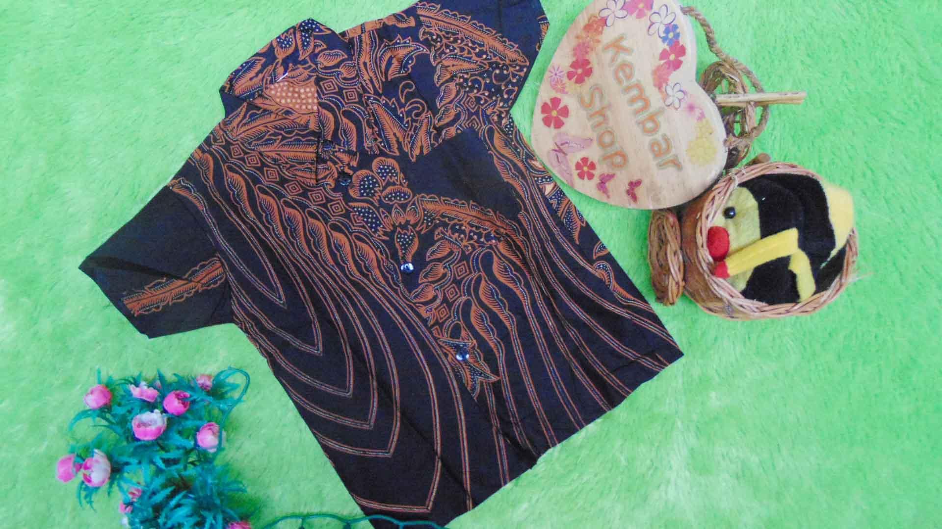 baju batik bayi anak laki-laki kemeja batik batita hem anak cowok uk 1-3th baju pesta motif temali ireng