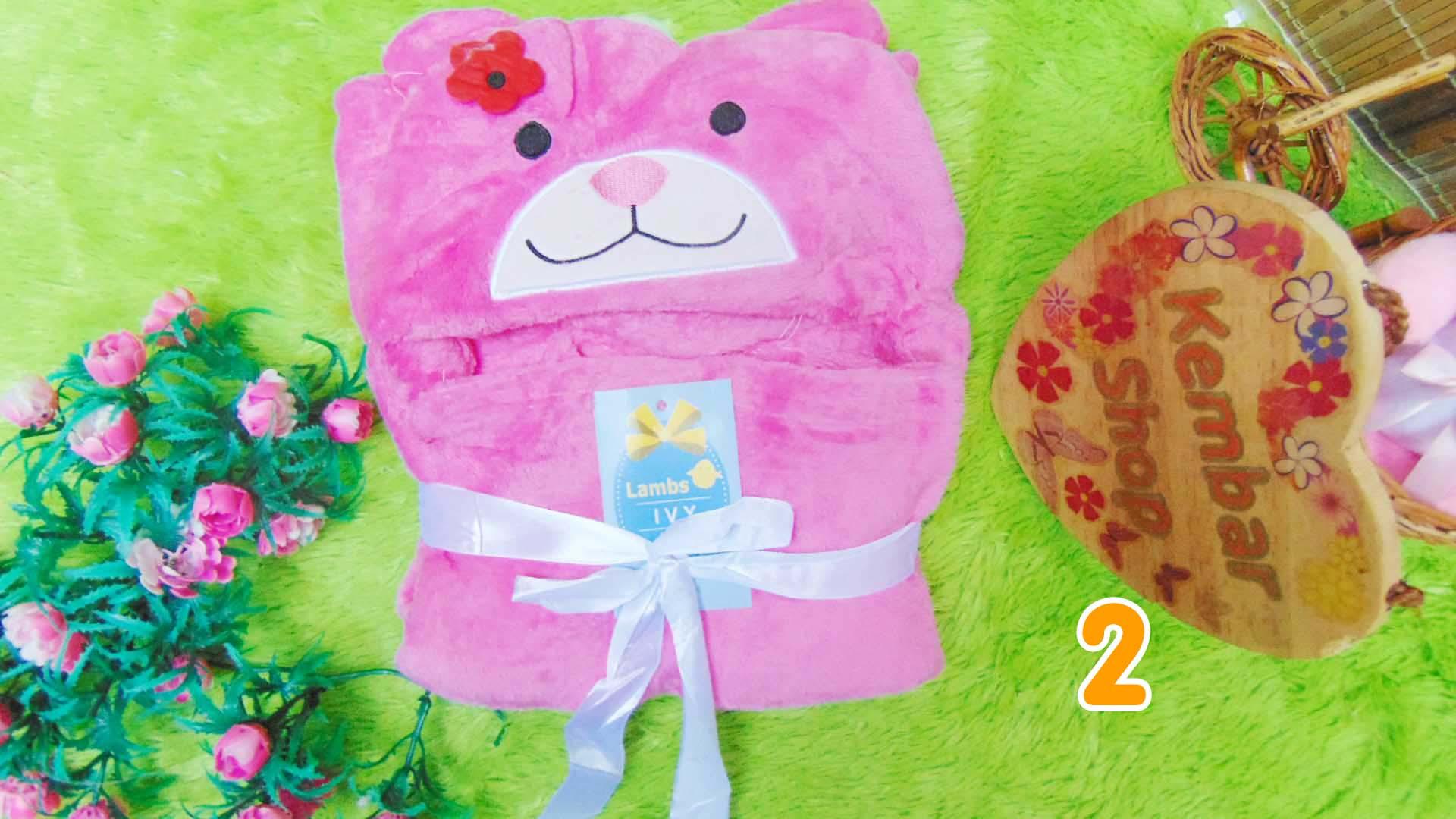 kado bayi selimut topi bulu carter double fleece animal karakter motif baby cewek perempuan (1)