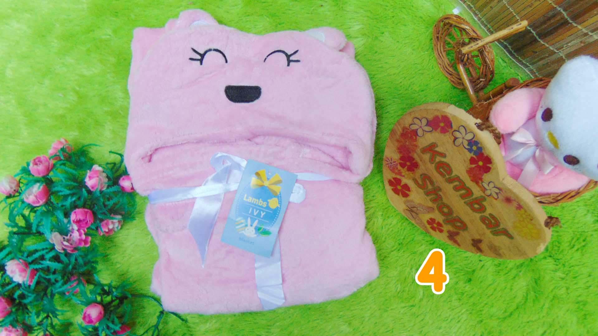 kado bayi selimut topi bulu carter double fleece animal karakter motif baby cewek perempuan (2)