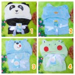 utama kado bayi selimut topi bulu carter double fleece animal karakter motif baby cowok laki-laki