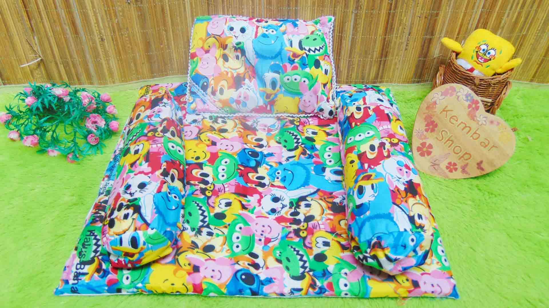 PALING MURAH kado bayi set kasur bayi karakter keroppi doraemon disney panda plus bantal dan guling (2)