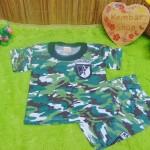 PALING MURAH setelan kaos pendek bayi army doreng warna n sablon random