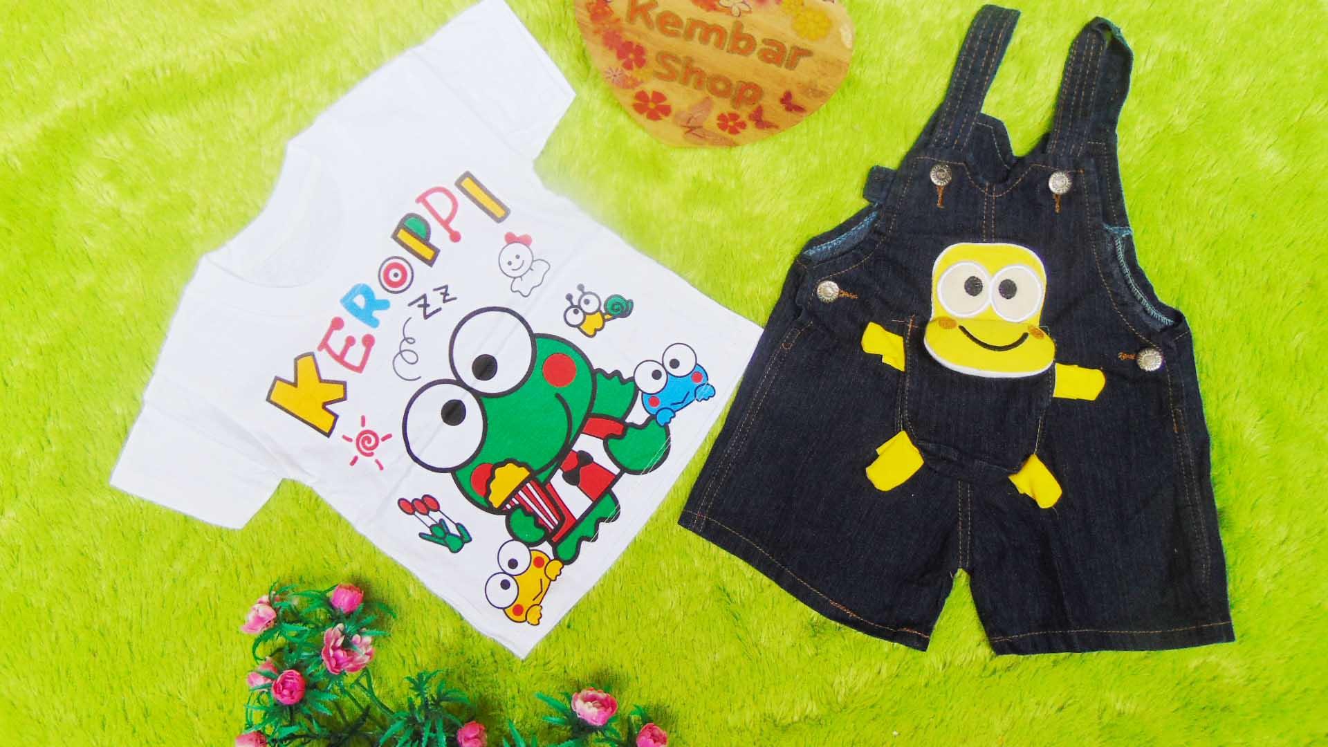 TERLARIS setelan baju kodok bayi 0-12bulan jeans keroppi bonek kuning PLUS KAOS