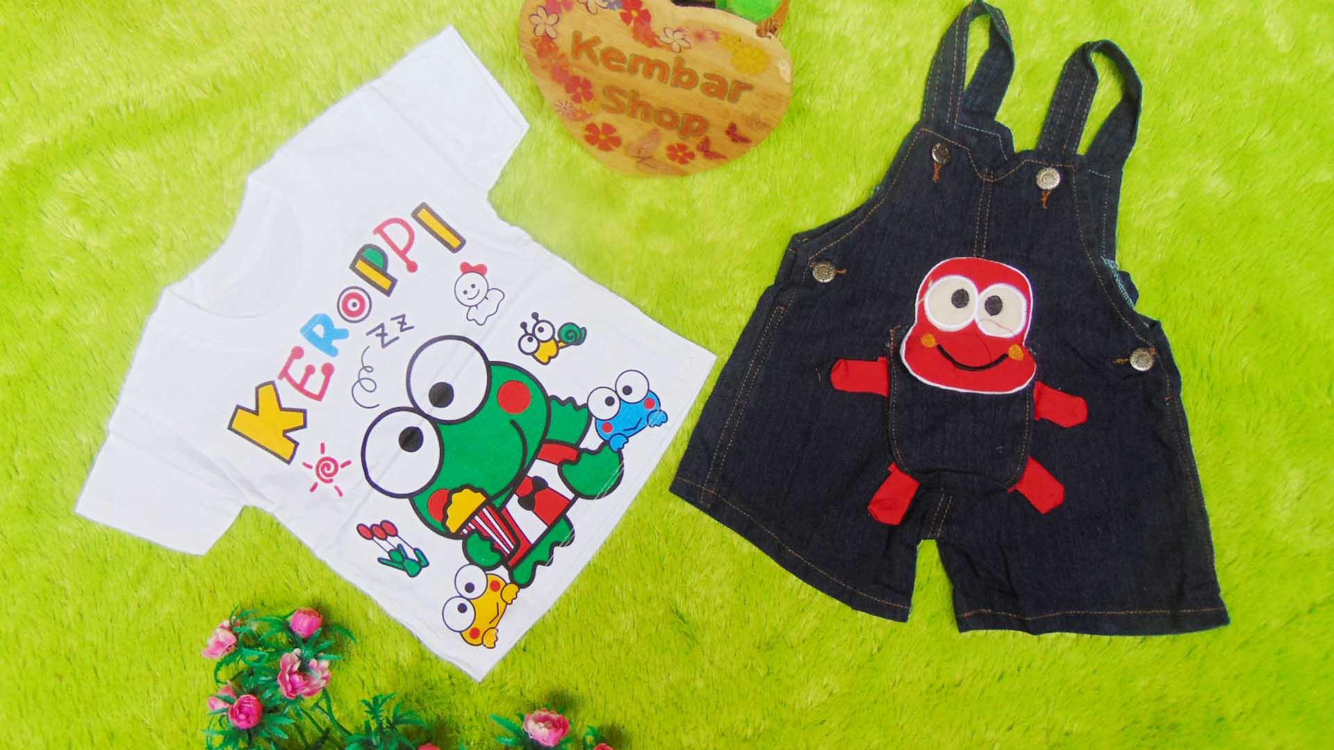 TERLARIS setelan baju kodok bayi 0-12bulan jeans keroppi boneka merah PLUS KAOS