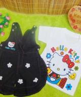 UTAMA baju pesta bayi perempuan 0-12bulan setelan kaos plus rok kodok jeans bunga (3)