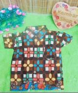 baju batik bayi anak laki-laki kemeja batik batita hem anak cowok uk 0-2th baju pesta biji kopi warna