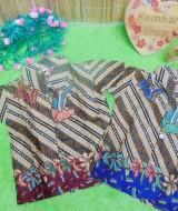 baju batik bayi anak laki-laki kemeja batik batita hem anak cowok uk 0-2th baju pesta parang zig zag