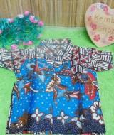 baju batik bayi anak laki-laki kemeja batik batita hem anak cowok uk 0-2th baju pesta taman biru