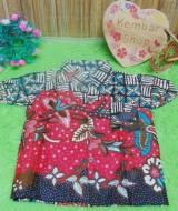 baju batik bayi anak laki-laki kemeja batik batita hem anak cowok uk 0-2th baju pesta taman merah