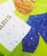 setelan kaos anak bayi combed PARIS plus celana denim size 3 usia 0-18 bulan