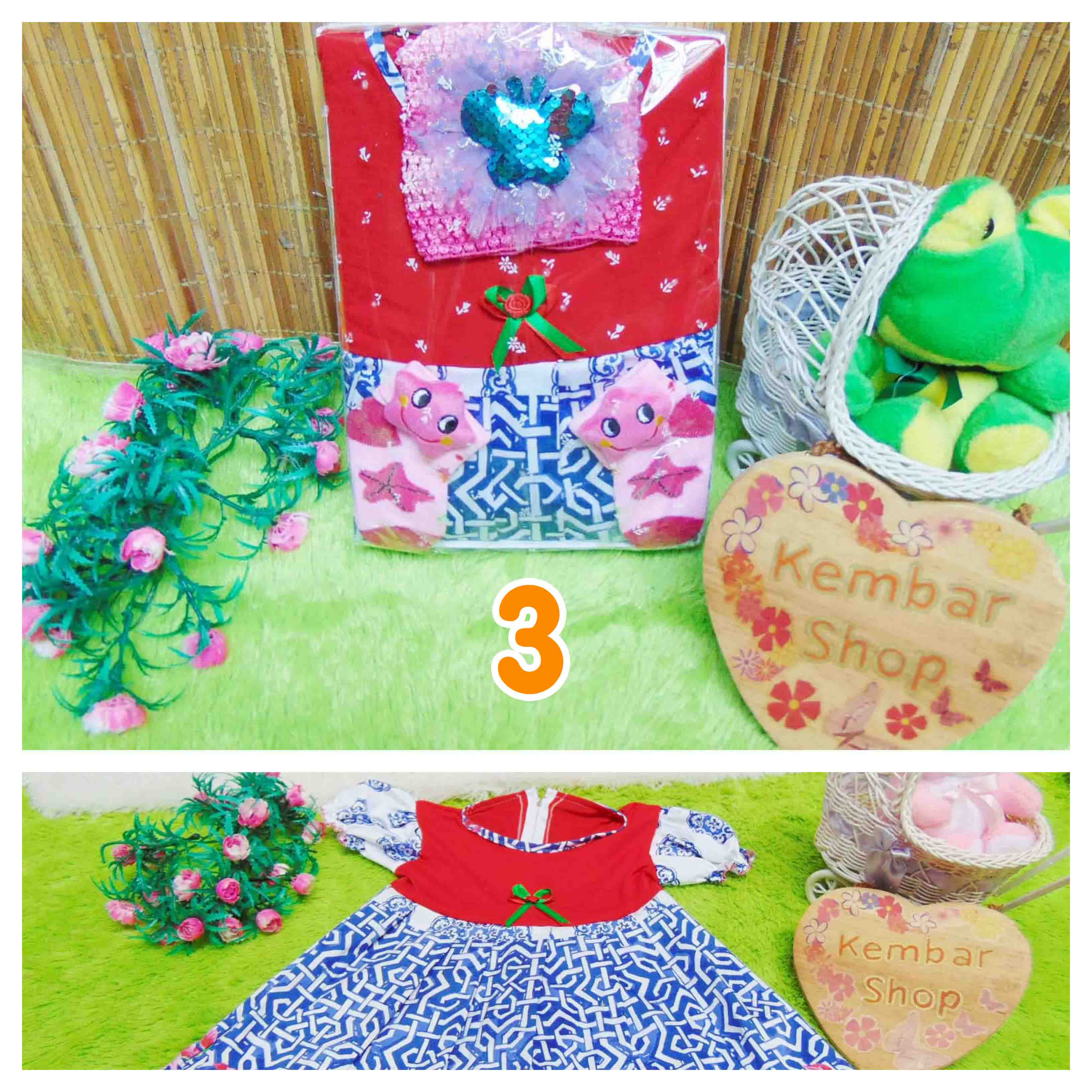 FREE KARTU UCAPAN Kado Lahiran Box Paket Kado Ulang Tahun Anak Bayi Perempuan Cewek Baby Gift Dress BELLA Sock turban RANDOM Warna (3)