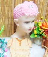 Headband Bandana Bando Anak Bayi 0-5th cantik blooming flowers with pearls (2)