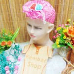 Headband Bandana Bando Anak Bayi 0-5th cantik double flowers with pearls