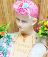 Headband Bandana Bando Anak Bayi 0-5th cantik double flowers with pearls (2)