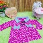 jaket bayi blazer baby mantel bayi hangat lembut 0-18bulan motif mozaik pink