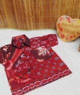 baju pesta kemeja batik bayi laki-laki cowok hem atasan anak baby 0-2th merah truntum