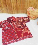 baju pesta kemeja batik bayi laki-laki cowok hem atasan anak baby 0-2th truntum kombi