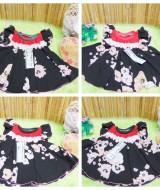 dress baju pesta bayi anak perempuan BELLA black sakura newborn baby 0-9bulan