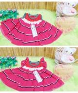 dress baju pesta bayi anak perempuan BELLA stripe pink newborn baby 0-9bulan