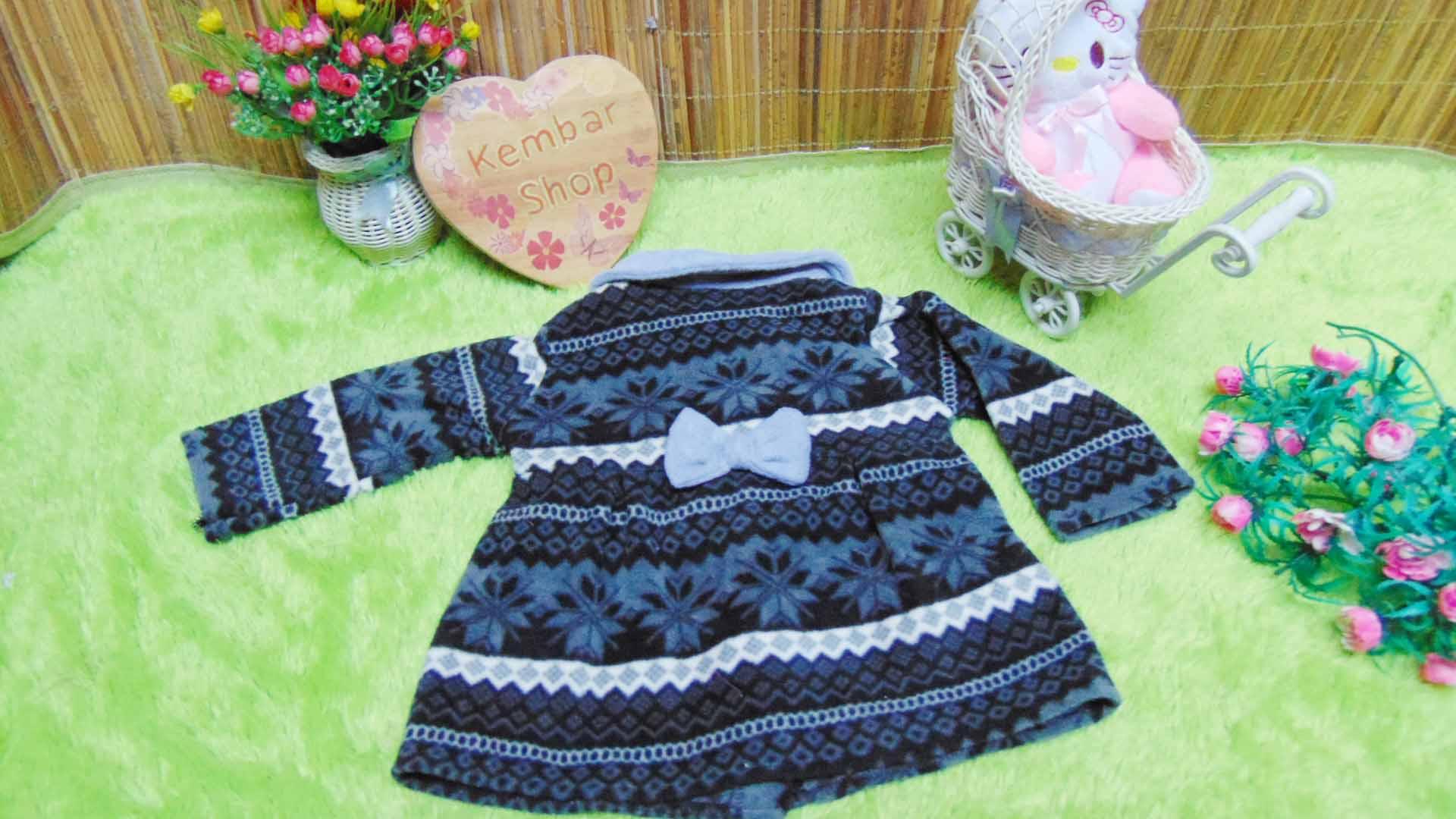 jaket bayi blazer baby mantel bayi hangat lembut 0-18bulan motif aztec abu hitam (1)