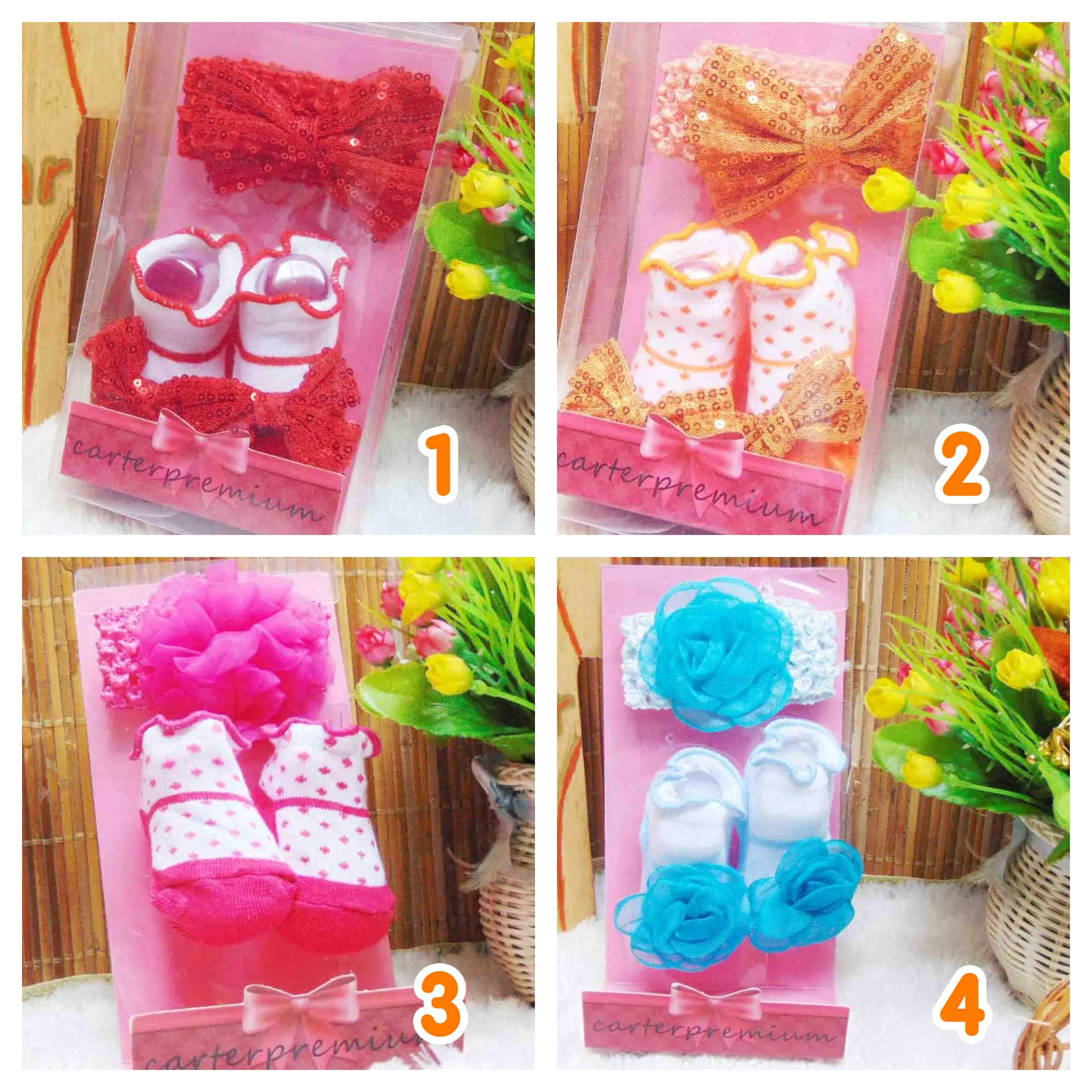paket kado bayi set kaos kaki bayi newborn perempuan baby girl cantik CARTER PREMIUM plus headband kado SNI (5)