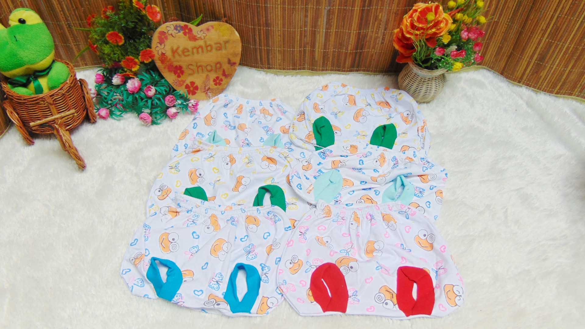 Set 6pcs Celana Kacamata Bayi Baby Pop Segitiga Motif Kodok Keroppi Adem Lembut (1)