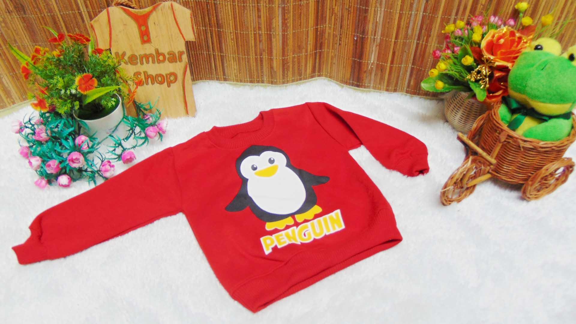 jaket baju hangat sweater kancing pundak bayi 0-2th motif penguin (4)