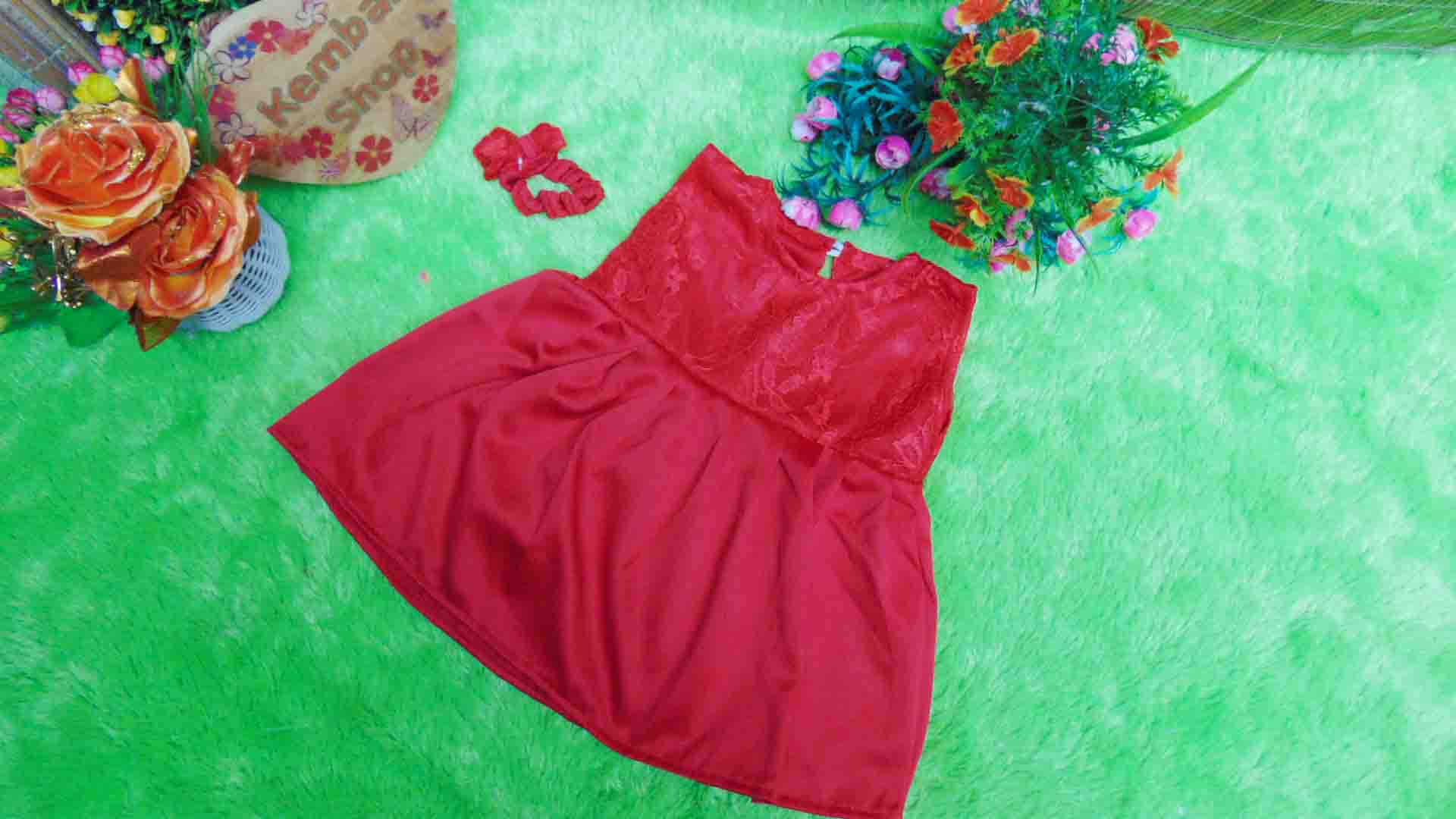 paket cantik dress velvet brocade cantik plus headband (2)